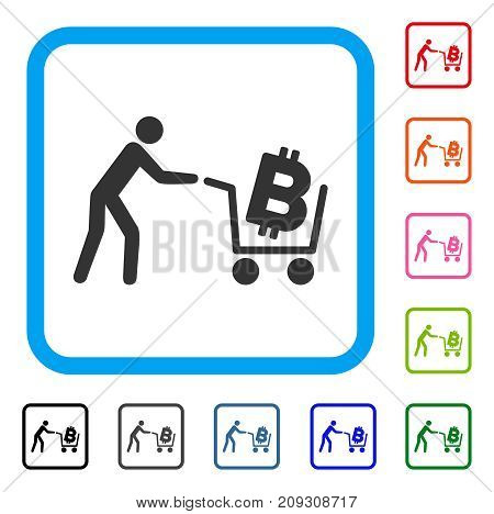 Bitcoin Shopping Cart icon. Flat gray pictogram symbol in a light blue rounded squared frame. Black, gray, green, blue, red, orange color additional versions of Bitcoin Shopping Cart vector.