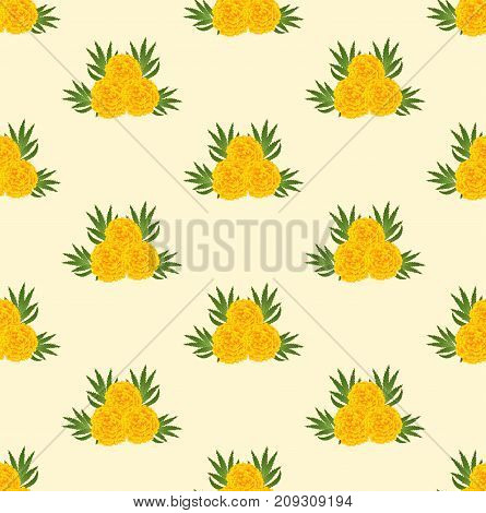 Marigold Seamless on Beige Ivory Background. Illustration.