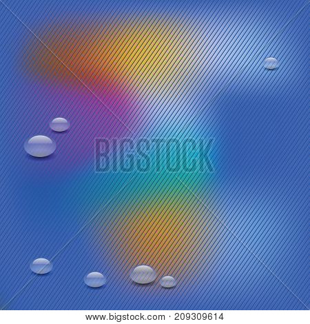 colorful illustration with water drops on diagonal striped background