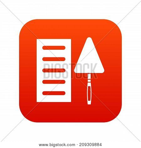 Brick and trowel icon digital red for any design isolated on white vector illustration