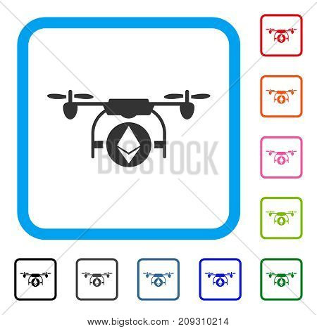 Ethereum Airdrone icon. Flat gray iconic symbol in a light blue rounded rectangular frame. Black, gray, green, blue, red, orange color additional versions of Ethereum Airdrone vector.