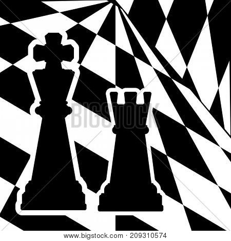 Chessboard with a chess pieces King and Rook. Traditional Christmas holiday game.