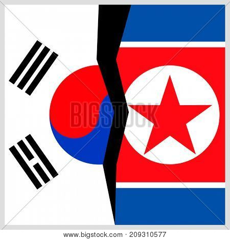 South Korea and North Korea flags with a crack.