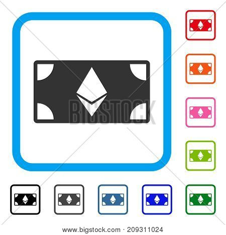 Ethereum Banknote icon. Flat grey iconic symbol inside a light blue rounded rectangular frame. Black, gray, green, blue, red, orange color versions of Ethereum Banknote vector.
