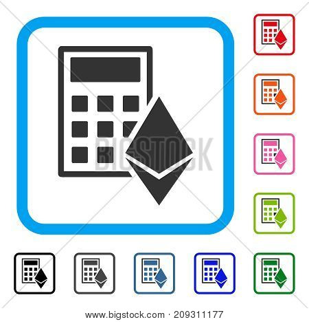 Ethereum Calculator icon. Flat gray iconic symbol in a light blue rounded square. Black, gray, green, blue, red, orange color additional versions of Ethereum Calculator vector.