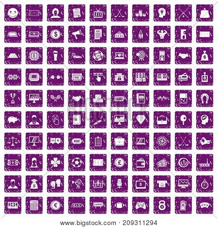 100 sweepstakes icons set in grunge style purple color isolated on white background vector illustration