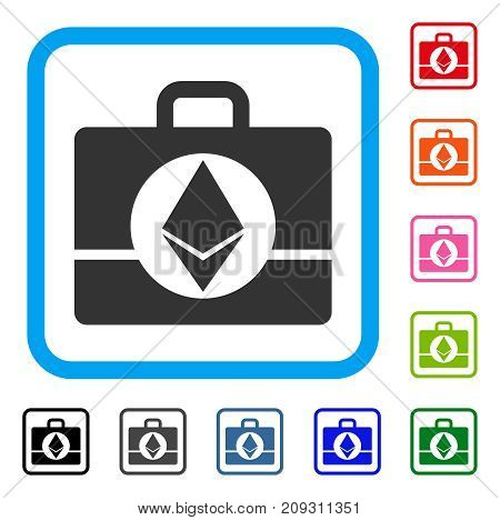 Ethereum Case icon. Flat grey iconic symbol inside a light blue rounded frame. Black, gray, green, blue, red, orange color additional versions of Ethereum Case vector.
