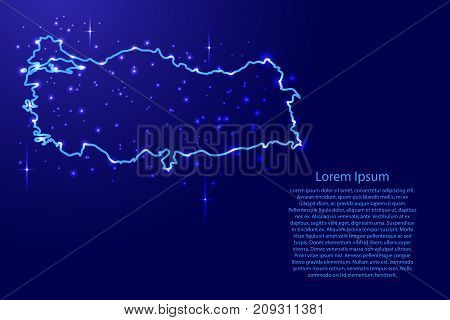 Map Turkey from the contours network blue luminous space stars for banner poster greeting card of vector illustration