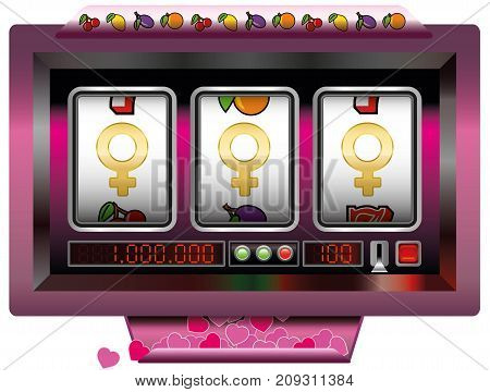Dream girl win with slot machine - symbol for having good fortune to find the dream women - slot machine jackpot with three female signs. Vector illustration on white background.