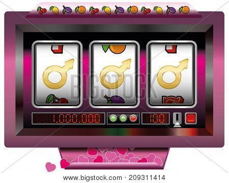 Dream lover win with slot machine - symbol for having good fortune to find the ideal man - slot machine jackpot with three male signs. Vector illustration on white background.