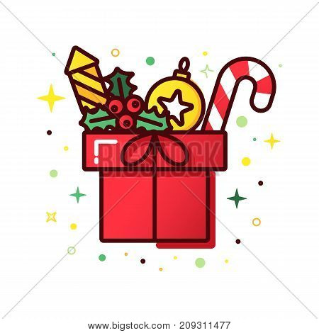 Vector line style christmas gift box. Cute illustration of gift box present, greeting, surprise. Greeting box or wrap gift box.