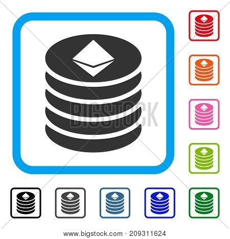 Ethereum Coin Stack icon. Flat gray pictogram symbol in a light blue rounded rectangle. Black, gray, green, blue, red, orange color additional versions of Ethereum Coin Stack vector.