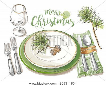 Christmas table setting. Vector Festive cutlery set: forks, knives, spoons, empty plate on cloth napkin. Top view. Watercolor isolated illustration on white background.