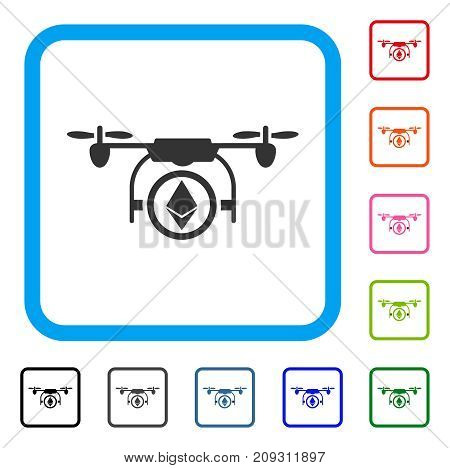 Ethereum Copter icon. Flat grey iconic symbol inside a light blue rounded rectangle. Black, gray, green, blue, red, orange color versions of Ethereum Copter vector.
