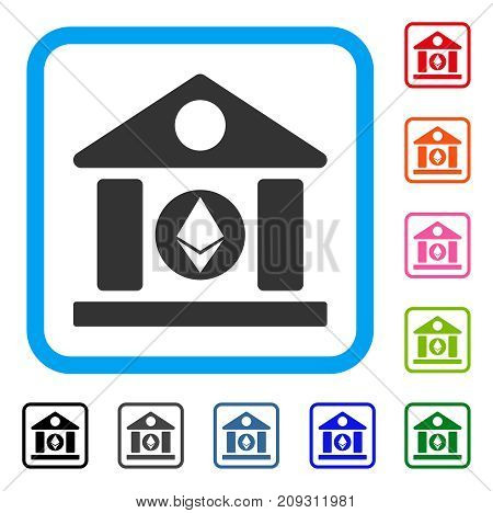 Ethereum Corporation Building icon. Flat gray iconic symbol in a light blue rounded rectangular frame. Black, gray, green, blue, red, orange color variants of Ethereum Corporation Building vector.