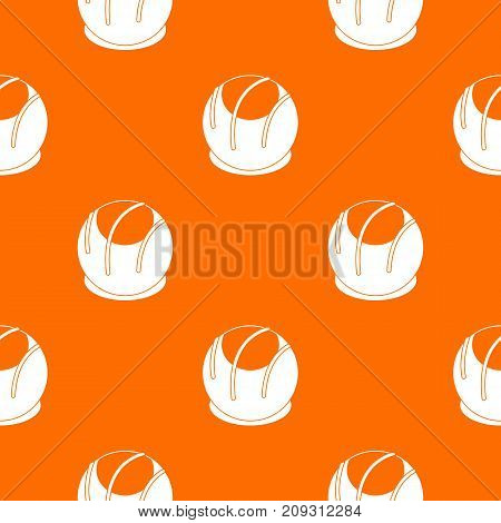 Bakery pattern repeat seamless in orange color for any design. Vector geometric illustration