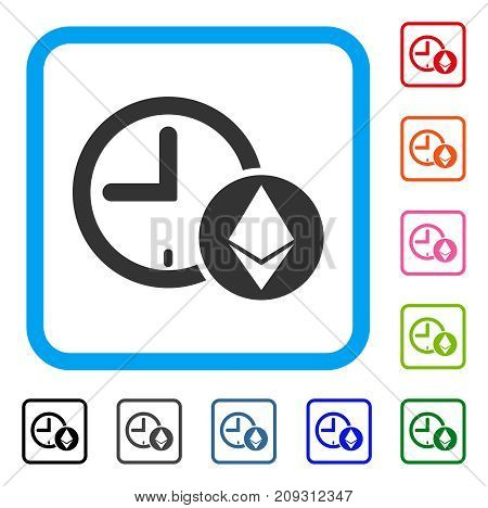 Ethereum Credit Clock icon. Flat gray pictogram symbol inside a light blue rounded squared frame. Black, gray, green, blue, red, orange color versions of Ethereum Credit Clock vector.