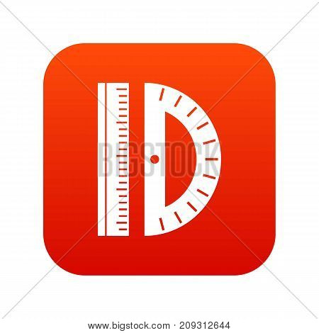 Line icon digital red for any design isolated on white vector illustration