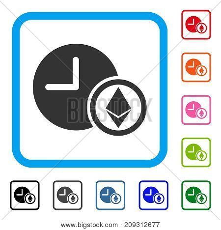 Ethereum Credit Clock icon. Flat gray iconic symbol in a light blue rounded rectangular frame. Black, gray, green, blue, red, orange color versions of Ethereum Credit Clock vector.