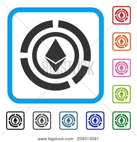 Ethereum Diagram icon. Flat gray iconic symbol inside a light blue rounded rectangular frame. Black, gray, green, blue, red, orange color versions of Ethereum Diagram vector.
