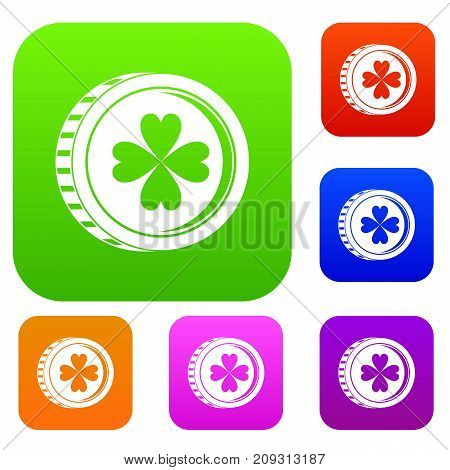 Coin with clover sign set icon color in flat style isolated on white. Collection sings vector illustration