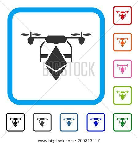 Ethereum Drone icon. Flat grey pictogram symbol in a light blue rounded squared frame. Black, gray, green, blue, red, orange color additional versions of Ethereum Drone vector.