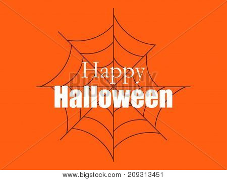 Happy Halloween, Background With Spider Web. Vector Illustration