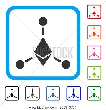 Ethereum Links icon. Flat grey pictogram symbol in a light blue rounded rectangle. Black, gray, green, blue, red, orange color additional versions of Ethereum Links vector.