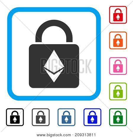 Ethereum Lock icon. Flat grey iconic symbol inside a light blue rounded square. Black, gray, green, blue, red, orange color variants of Ethereum Lock vector. Designed for web and app user interface.