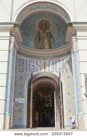 Evpatoria, Republic of Crimea - July 19, 2017: Entrance to the Cathedral of St. Nicholas in Evpatoria, Crimea