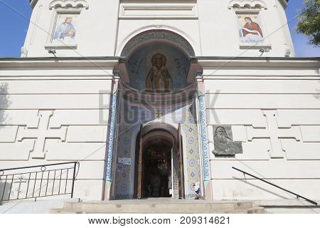 Evpatoria, Republic of Crimea - July 19, 2017: Porch with an open door to the Cathedral of St. Nicholas in Evpatoria, Crimea