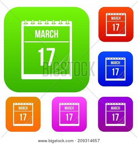 Calendar with the date of March 17 set icon color in flat style isolated on white. Collection sings vector illustration