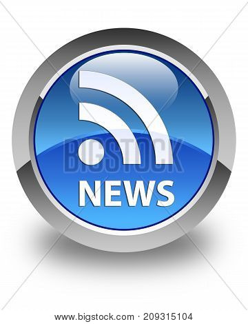 News (rss Icon) Glossy Blue Round Button