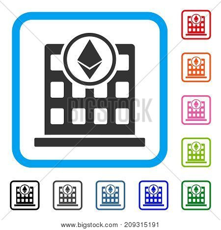 Ethereum Office icon. Flat grey iconic symbol in a light blue rounded rectangular frame. Black, gray, green, blue, red, orange color versions of Ethereum Office vector.