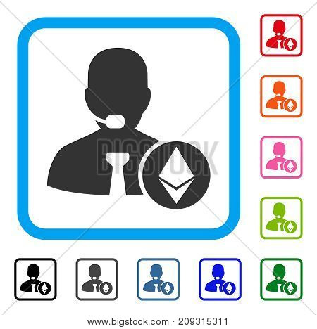Ethereum Operator Manager icon. Flat grey iconic symbol inside a light blue rounded squared frame. Black, gray, green, blue, red, orange color versions of Ethereum Operator Manager vector.