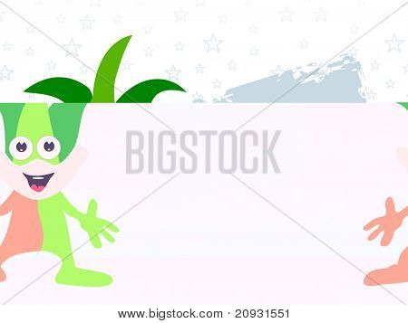 star background with funny brown, green cartoon, vector illustration