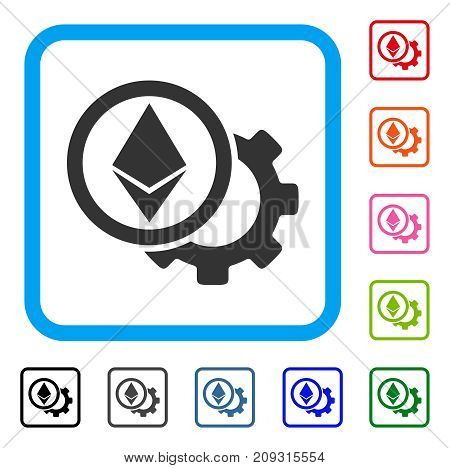 Ethereum Options Cogwheel icon. Flat gray iconic symbol in a light blue rounded rectangular frame. Black, gray, green, blue, red, orange color versions of Ethereum Options Cogwheel vector.