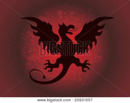 abstract red texture background with fiery dragon