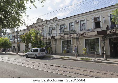 Evpatoria, Republic of Crimea, Russia - July 19, 2017: Cafe