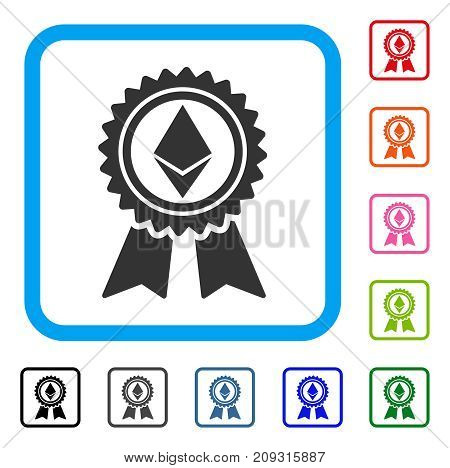 Ethereum Reward Medal icon. Flat grey iconic symbol in a light blue rounded frame. Black, gray, green, blue, red, orange color additional versions of Ethereum Reward Medal vector.