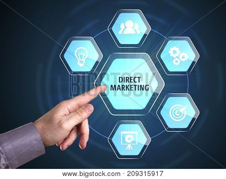 Business, Technology, Internet And Network Concept. Young Businessman Shows The Word: Direct Marketi