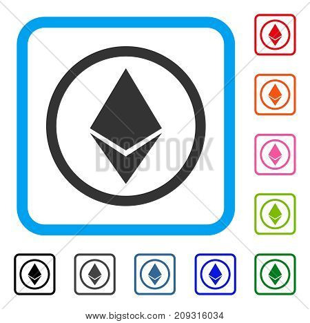 Ethereum Rounded icon. Flat gray pictogram symbol inside a light blue rounded rectangle. Black, gray, green, blue, red, orange color additional versions of Ethereum Rounded vector.