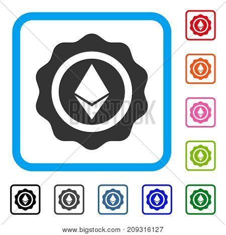 Ethereum Seal icon. Flat grey pictogram symbol in a light blue rounded rectangle. Black, gray, green, blue, red, orange color variants of Ethereum Seal vector. Designed for web and software UI.