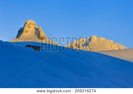 mountain top in winter. Ciucas Mountains Romania.