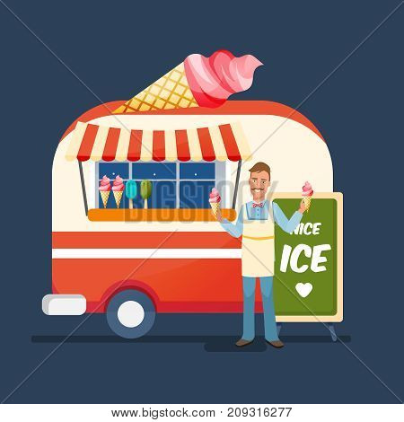 Concept of street trading. Young cheerful man cartoon character, seller of sweet ice cream, in branded clothes, sells fresh ice cream at the counter of the kiosk. Vector illustration isolated.