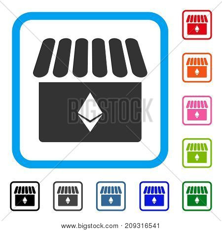 Ethereum Store icon. Flat gray iconic symbol inside a light blue rounded rectangle. Black, gray, green, blue, red, orange color additional versions of Ethereum Store vector.
