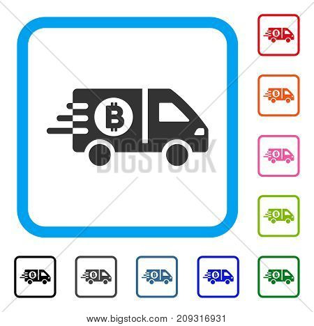 Fast Bitcoin Delivery Car icon. Flat grey iconic symbol inside a light blue rounded frame. Black, gray, green, blue, red, orange color versions of Fast Bitcoin Delivery Car vector.