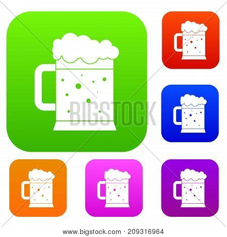 Beer mug set icon color in flat style isolated on white. Collection sings vector illustration