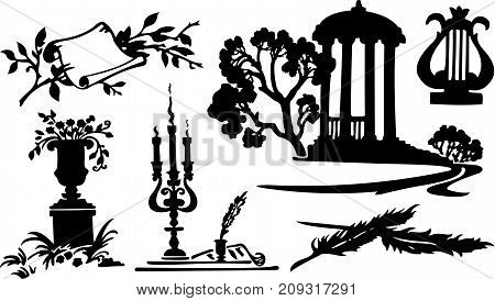 Vector black poetry symbols on white background