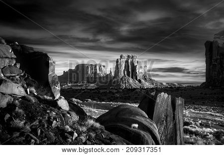 Stunning sunrise under a dramatic sky in Monument Valley, AZ
